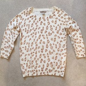 Banana Republic ivory/brown leopard pullover sz M